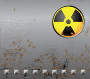 Metal background with radiation sign Royalty Free Stock Photos