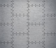 Metal background with rivets 3d illustration Royalty Free Stock Photo