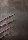 Metal background scratched by beast claw marks  Royalty Free Stock Image