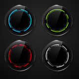 Metal background with set of glass buttons Royalty Free Stock Photo