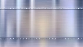 Metal background with texture and rivets, blurred reflections. Polished riveted metal sheets with place for text. Template for your poster, banner, cover art Royalty Free Stock Photo