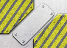 Metal background with warning coloring black and yellow, 3d, ill. Metal frame with warning stripe, danger zone iron background, 3d, illustration Stock Photography