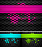 Metal backgrounds. Set of free metal backgrounds in pink blue and green Royalty Free Stock Photo