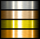 Metal backgrounds. Brushed metallic textures with reflections Stock Photos