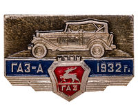 Metal badge. DZERZHINSK, RUSSIA - JUNE 10, 2013: Metal badge. Collection metal icon GAZ car royalty free stock photos