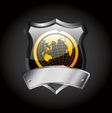 Metal badge -globe sign Stock Photo