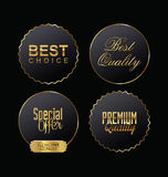 Metal badges premium quality gold and black collection Royalty Free Stock Image