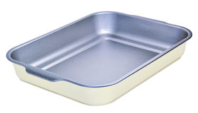Metal baking tray isolated on white Royalty Free Stock Image