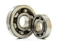The metal ball bearing. On the white background Royalty Free Stock Photography