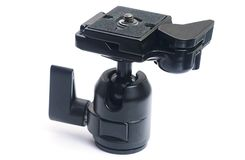 Tripod ball head with quick release plate stock image