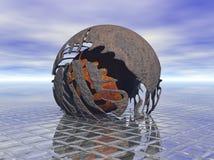 Metal ball shatter Stock Image