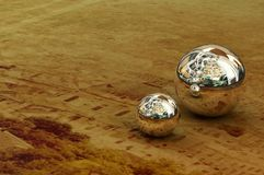 Metal balls. Beautiful 3D model of the metal balls on the antique photo like a macro photo Stock Image