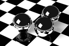 Metal Balls on Checkered Background, 3D Rendering. 3D rendering shiny chrome balls on checkered floor stock illustration