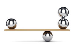 Metal balls on scale. Abstract balance and harmony concept. Weight scale: metal spheres on plank isolated on white background. 3D illustration Stock Photography