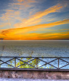 Metal balustrade by the shore Royalty Free Stock Photography