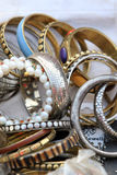 Metal bangles and bracelets Royalty Free Stock Photos