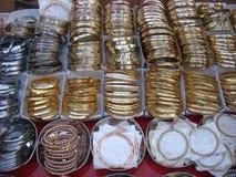 Metal bangles at street market. Variety of metal bangles at street market in india royalty free stock image