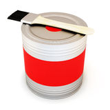 Metal Bank with red paint and brush. 3d. Metal Bank with red paint and brush  on white background. 3d illustration Stock Image