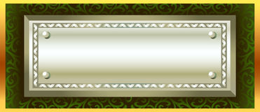 Metal banner. A metal banner held on a pattern background - room for copy on the banner Stock Photos