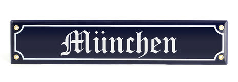 Metal banner with city name Munich. German muenchen Stock Photo