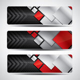 Metal banner set with carbon background Royalty Free Stock Photo