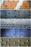 Metal banners collection, rivets. Metal banners, rivets. Military aircraft fuselage Stock Photos