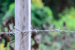 Metal barb fence with cement pole for protect danger area Stock Photography
