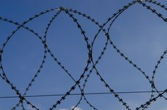 Metal barbed wire on a blue sky with white clouds stock photos