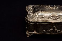 Silver vintage jewelery box royalty free stock image