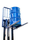 Metal barrel from the chemical industry on the fork truck Stock Photos