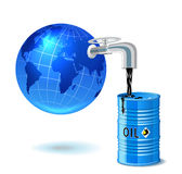 Metal barrel with oil, faucet and globe. Stock Photo