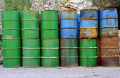 Metal barrels. For transporting and storage of chemicals derived from petroleum stock images