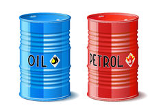 Metal barrels with oil and petrol. Royalty Free Stock Photo