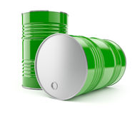 Metal barrels for oil or petrol storage. 3d rendered illustration.  on white background. Clipping path included Royalty Free Stock Photography