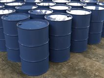 Metal barrels in storage Stock Image