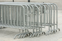Metal barriers grouped into deployment. Stock Image