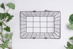Metal Basket with less Branches Flat Lay Top View. A Metal Basket with less Branches Flat Lay Top View Stock Photos