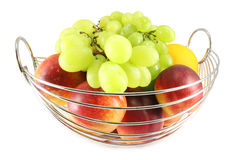 The metal basket with fruit Stock Photo