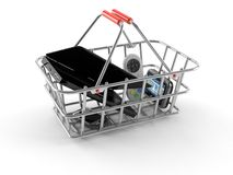 Metal basket with gadgets. On white background Royalty Free Stock Image