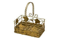 Metal basket isolated Royalty Free Stock Images