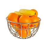 Metal  basket with orange fruits isolated Stock Photos