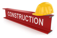 Metal beam and helmet. Construction concept. Stock Images
