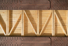 Metal beams and wooden boards Royalty Free Stock Images