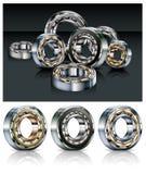 Metal bearings. Metal roller bearings on white & black background,  illustration Royalty Free Stock Images
