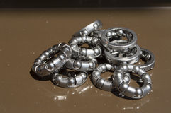 Metal bearings for bicycles mechanisms Royalty Free Stock Photos