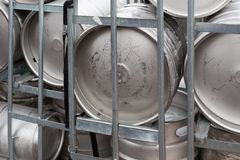 Metal beer barrels ready for transportation Royalty Free Stock Photos