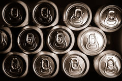 Metal  beer cans background. Metal cans with refreshing drinks background Stock Image