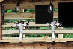 Metal beer cooler in the shop. Outdoors stock photo