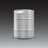 Metal beer keg with grained. And shadow on transparent background, vector illustration royalty free illustration