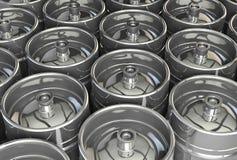 Metal beer kegs Stock Photography